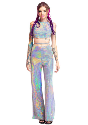 Holographic Two Piece Set, Laced up Holographic Halter top,  Holographic Pixels, Two Piece Set, Comfort Glam, Rave Clothes, Dancewear, Festival Wear, Dancing, Shimmering Clothes