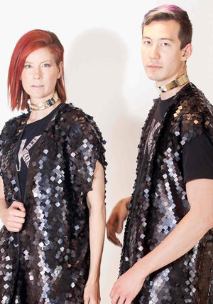 Kimono, Unisex-Outerwear-A Line Called K-Gold Fiesta Fringe-A Line Called K
