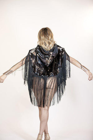 VR Hood, Gold and Chocolate, Medium Fringe-Outerwear-A Line Called K-No Fringe-A Line Called K