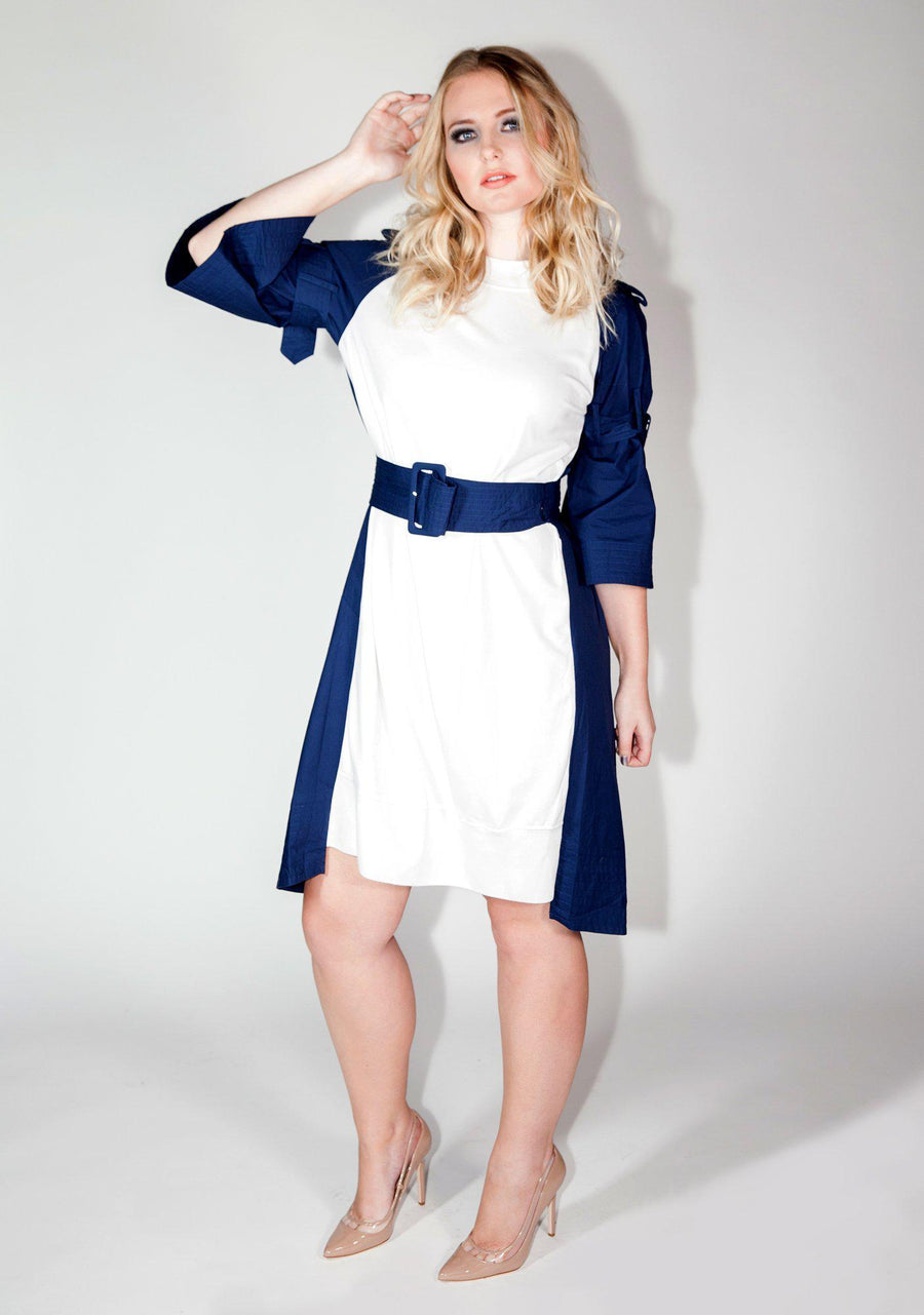 Women's Fashion, Navy Boater Dress, Sailor, Fall, Winter, Comfortable, Sporty, Dress, Navy