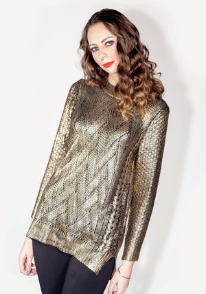 Cable Knit, Metallic Coated, Metallic, Gold Sweater, Sweater, Women's Fashion, Textured Gold Sweater, Holiday Sweater, Christmas Gift, Gift, Holiday, Fall, Winter, Fashion Trends