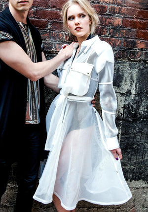 White Overlay, White Mesh Overlay, Scuba Mesh Overly, Big Pockets, Vegan Leather, Mesh Trench Coat, Trench Coat, Mesh Coat, Sheer, Outerwear, Unisex, Fashion, Holiday, Fall, Winter, Avant Garde, White