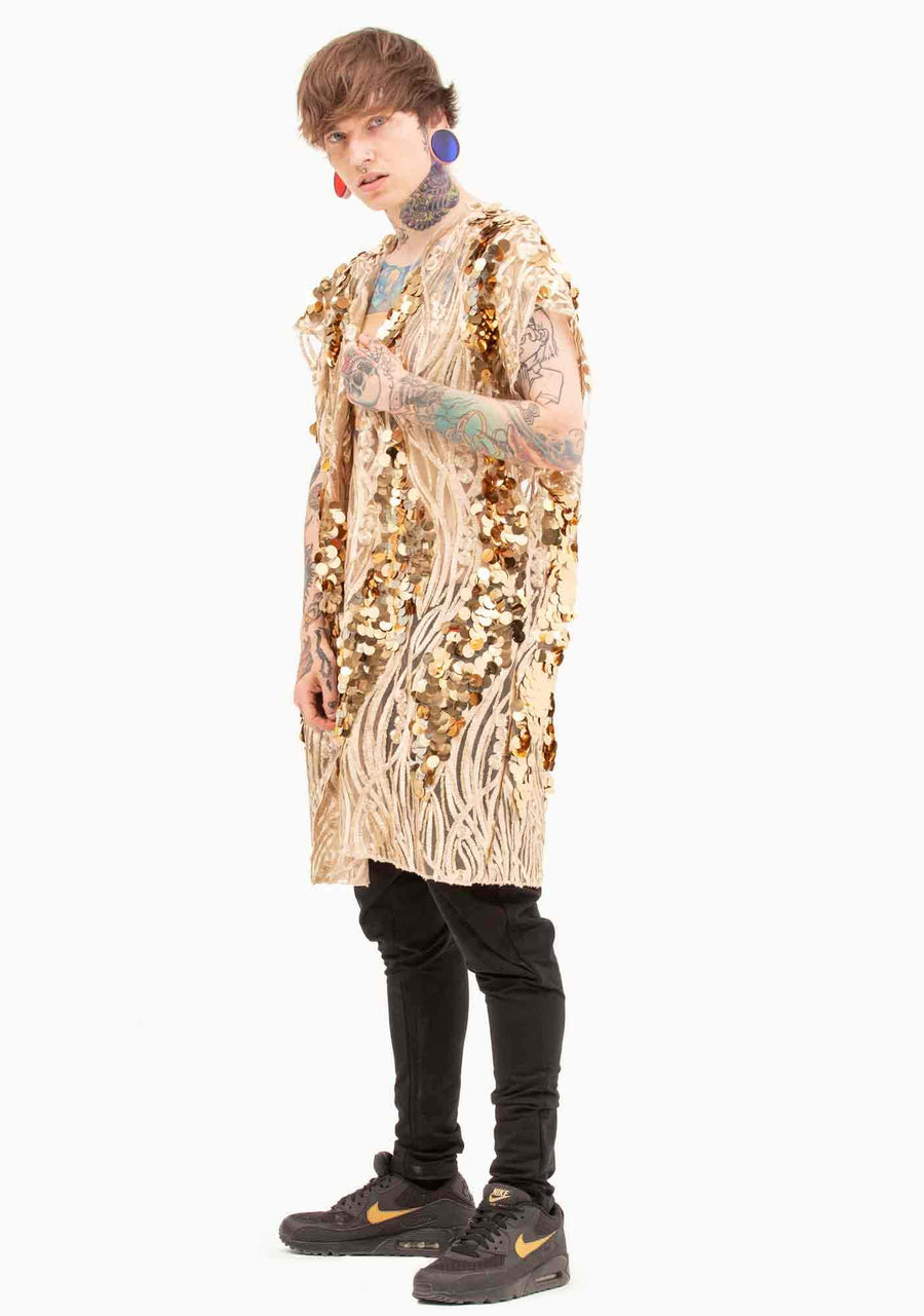 Kimono, Unisex, Sequins, Gold, Festival, Club, Dancing, Vest, Big Sequins, Jacket, Summer, Beach, Sand, Genie