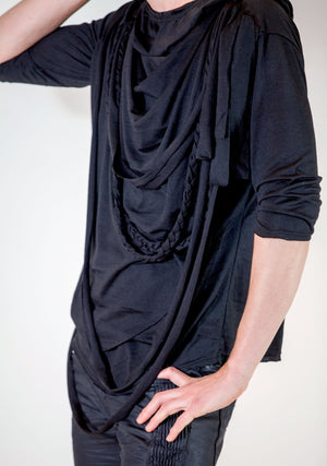 Men's Fashion, Unisex, soft cotton knit shirt, Rope Tee, Black Tee Shirt, Black Shirt, Soft, Layers