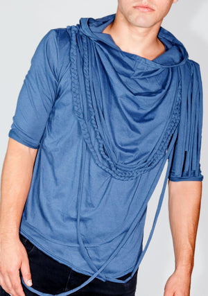 Men's Fashion, Unisex, soft cotton knit shirt, Rope Tee, Blue Tee Shirt, Blue Shirt, Soft, Layers