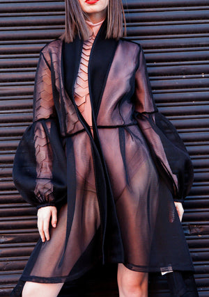 Womens Fashion, Mesh Trench Coat, Mesh Overlay, Tomorrows Overlay Trench, Mesh Kimono, Kimono, Kimono Trench, Black, Fall Fashion, Holiday