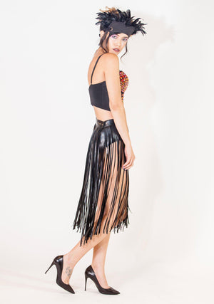 Belted Fringe Skirt, Unisex-Skirt-A Line Called K-One Size - Adjustable-A Line Called K