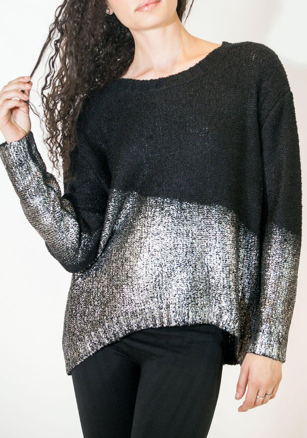 Dipped in Metal Pullover-Top-A Line Called K-Dipped in Silver-A Line Called K