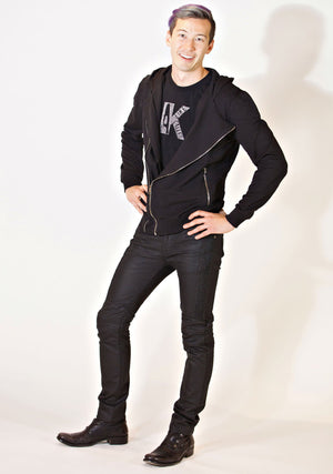 Double Zipper Hoodie, Unisex-Outerwear-A Line Called K-S-Black-97% Cotton 3% Lycra-A Line Called K