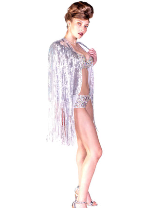 Disco Rodeo Silver Fringe Cape, Unisex-Outerwear-A Line Called K
