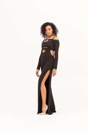 Two-Piece Glam Jumpsuit-Jumpsuit-A Line Called K-S-Black-A Line Called K