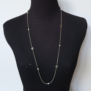 David Yurman Sterling Silver Long Box Chain with Pearls