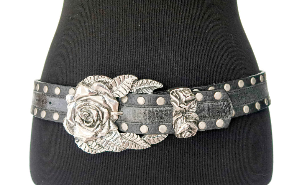 LeatherRock Black Leather with Silver Rose Buckle Belt