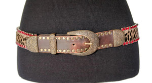 Nanni Leopard Calf Hair and Red Rhinestone Belt