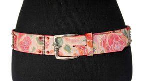 Nanni Floral Tooled Leather Belt with Rhinestones
