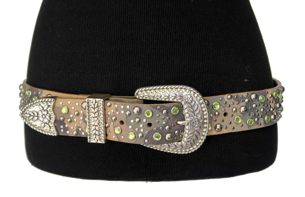 Ariat Camo Leather Belt with Rhinestones