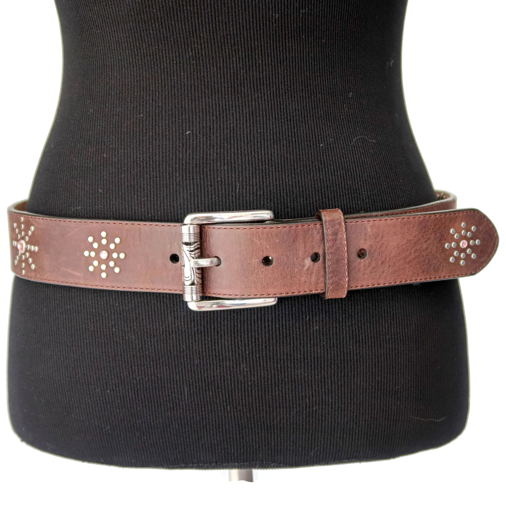 Ariat Brown Leather Belt with Silver & Pink Rhinestones
