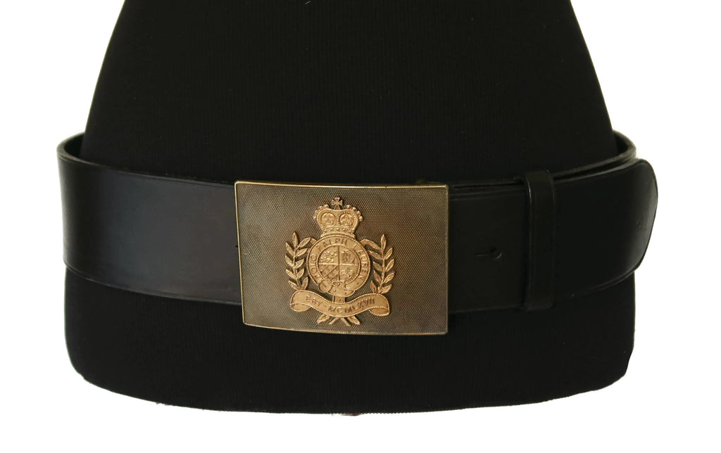 Ralph Lauren Collection Black Leather Belt with Bronze Crest Buckle