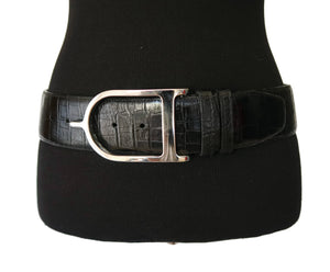 Sandy Duftler Black Crocodile Embossed Wide Leather Belt