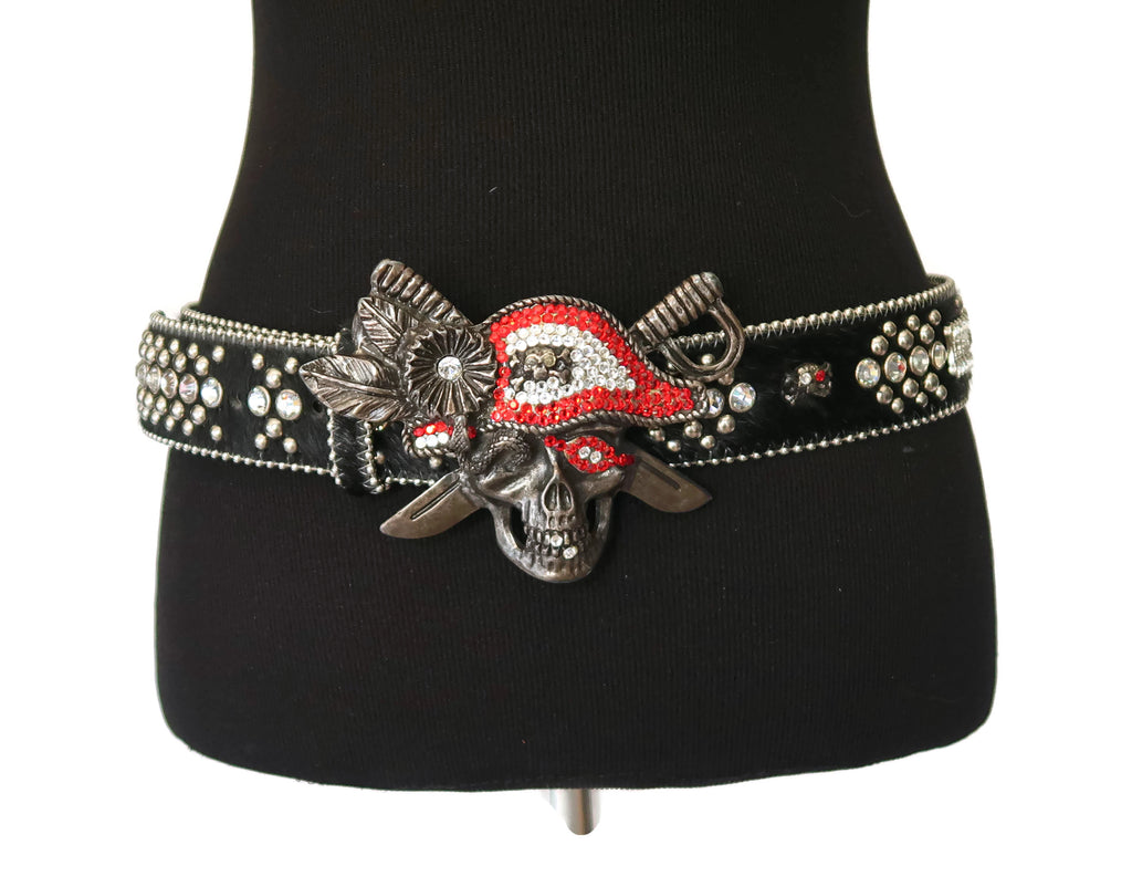 BB Simon Black Calf Hair Belt with Pirate Buckle