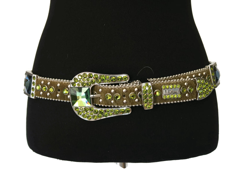 BB Simon Army Green Calf Hair Belt with Blue/Green Rhinestones and Silver Studs