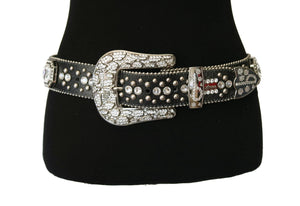 BB Simon Gunmetal Snakeskin Embossed Belt with Clear Rhinestones and Silver Studs