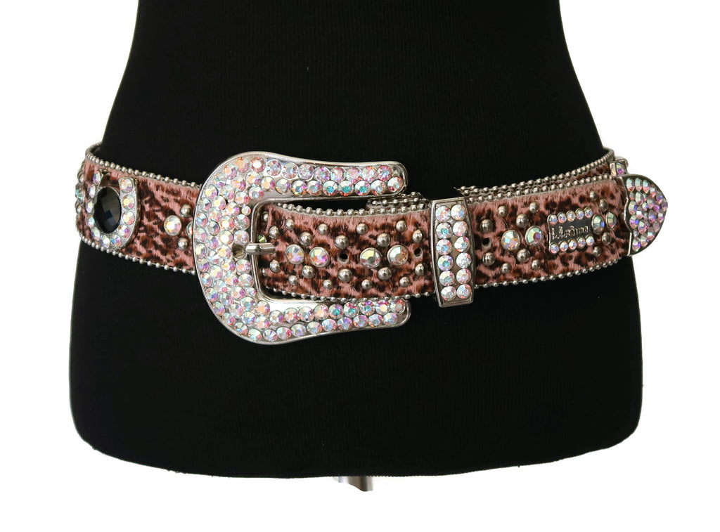 BB Simon Pink Leopard Calf Hair Belt with Black and Pink Horseshoe Rhinestones