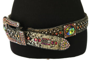 "BB Simon Black Silver and Green"" Cracked"" Leather belt with Rhinestones"