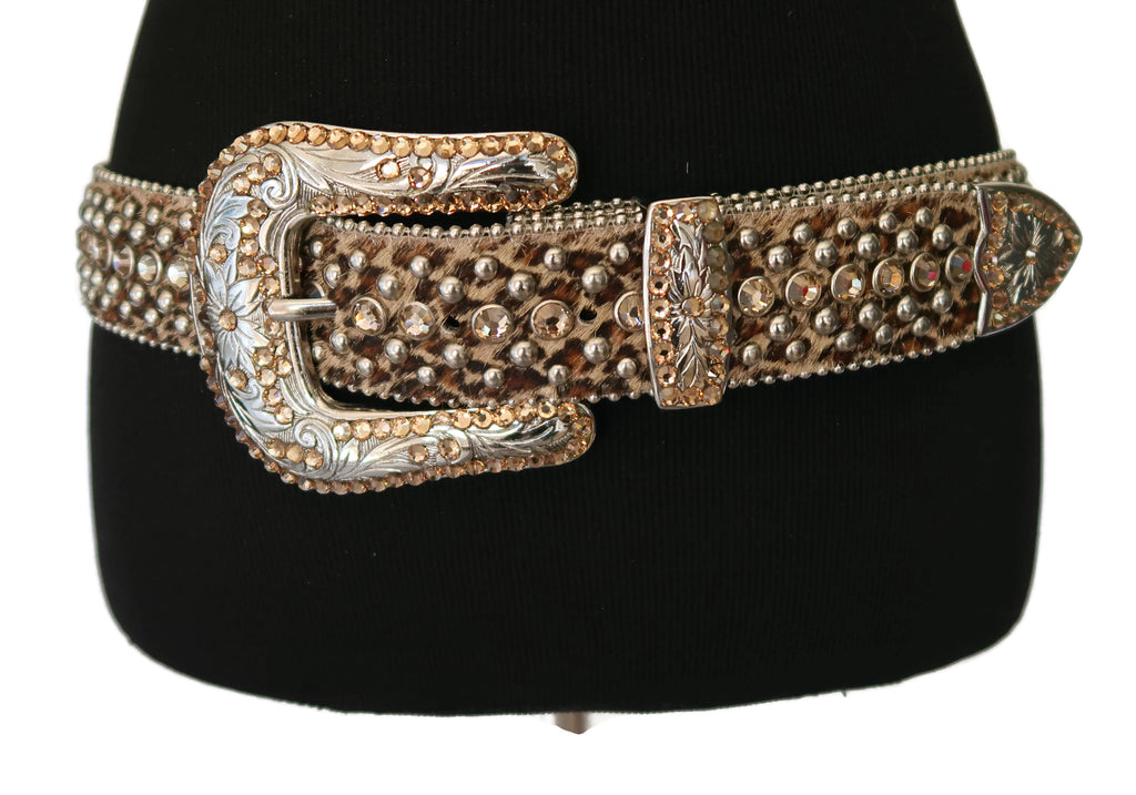 BB Simon Leopard Print Calf Hair Belt with Peach Rhinestones and Silver Studs