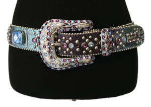 BB Simon Blue & Purple Embossed 'Reptile' Belt with Rhinestones