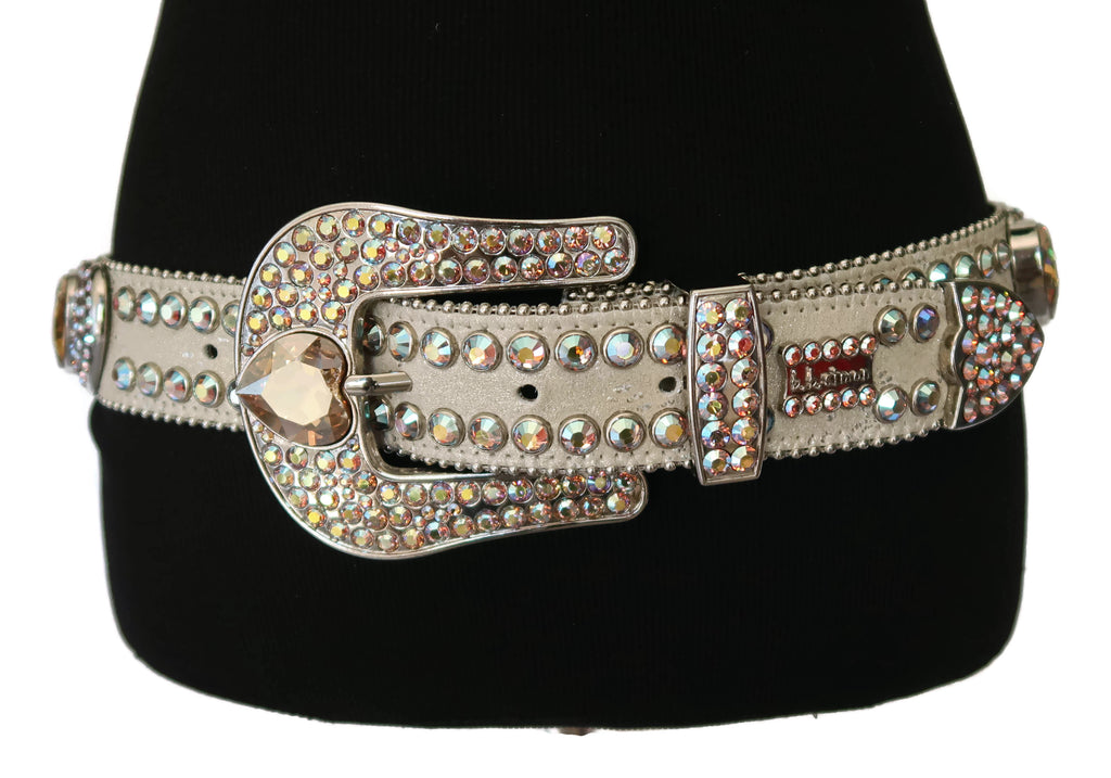 BB Simon Taupe Leather with Clear Rhinestones and Silver Studs Belt