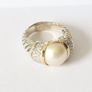 David Yurman Pearl with Pave Diamonds Cable Ring SZ. 8.5