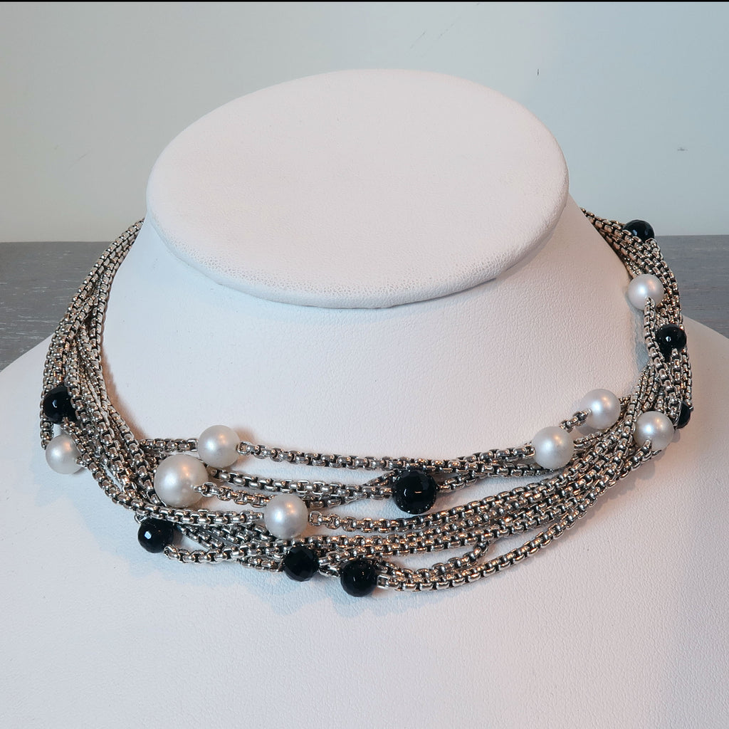 David Yurman Multi-Strand Box Chain Necklace with Pearls and Onyx