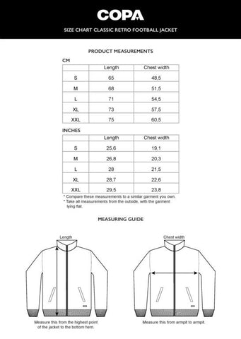 COPA Football Jacket Sizing