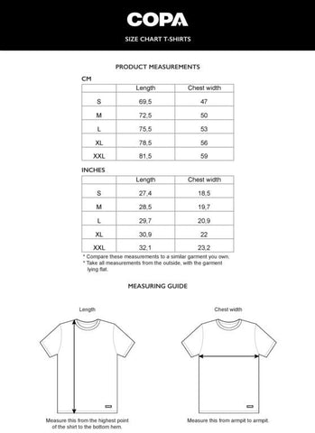 COPA Football Tops Sizing