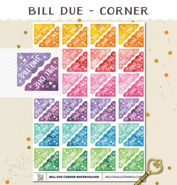 Corner Bill Due Planner Stickers