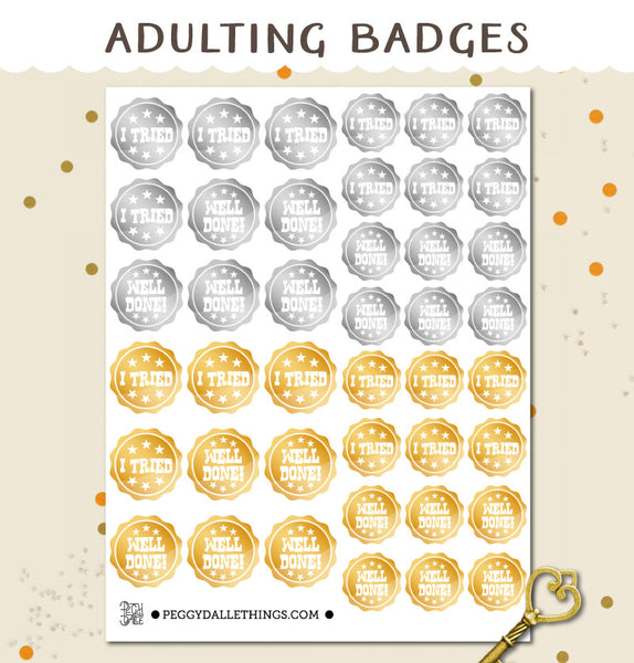 Adulting Badges Planner Stickers