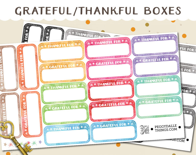 Grateful/Thankful For Watercolour Half Boxes Planner Stickers