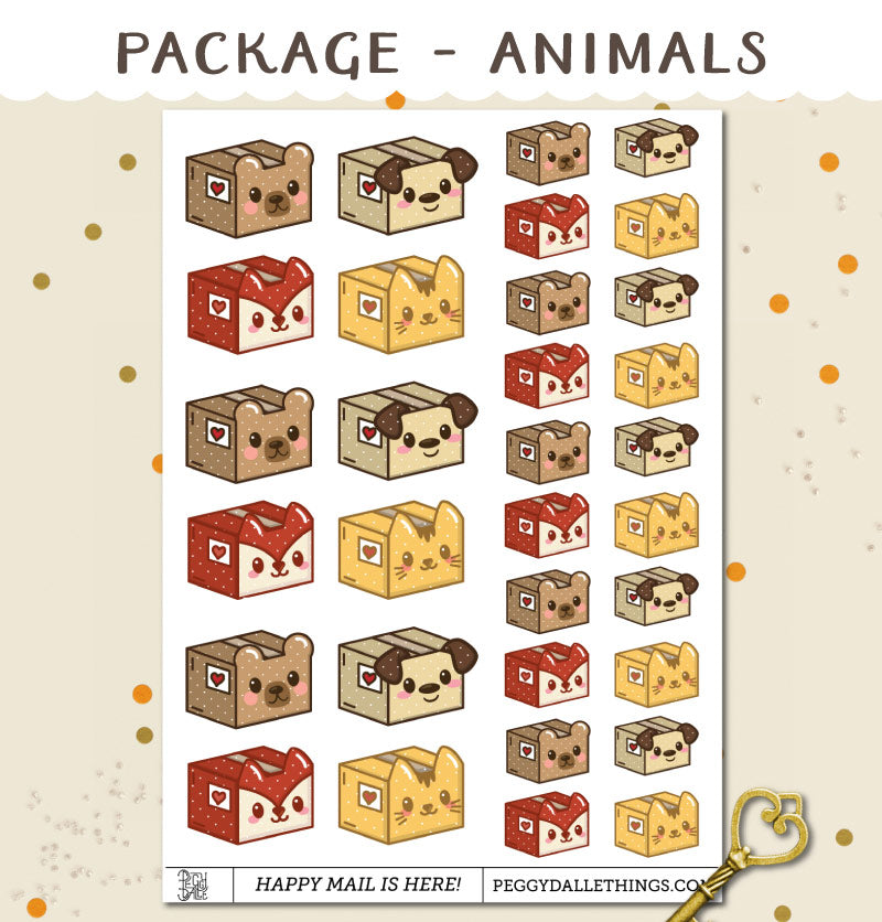 Animals Happy Mail Package Delivery Planner Stickers