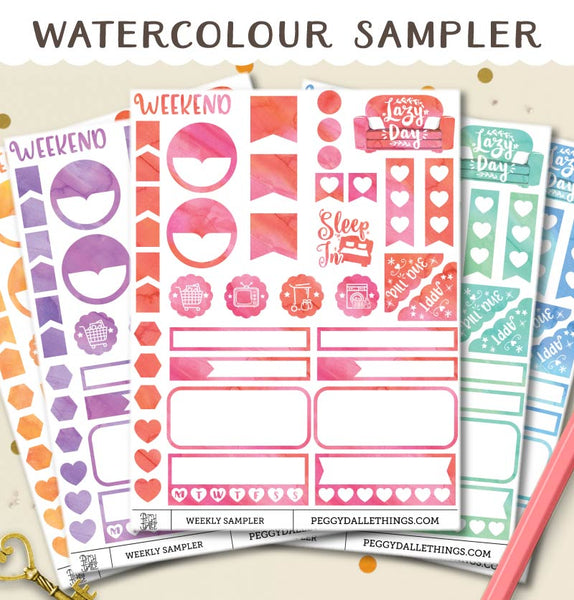 Watercolour Sampler Planner Stickers