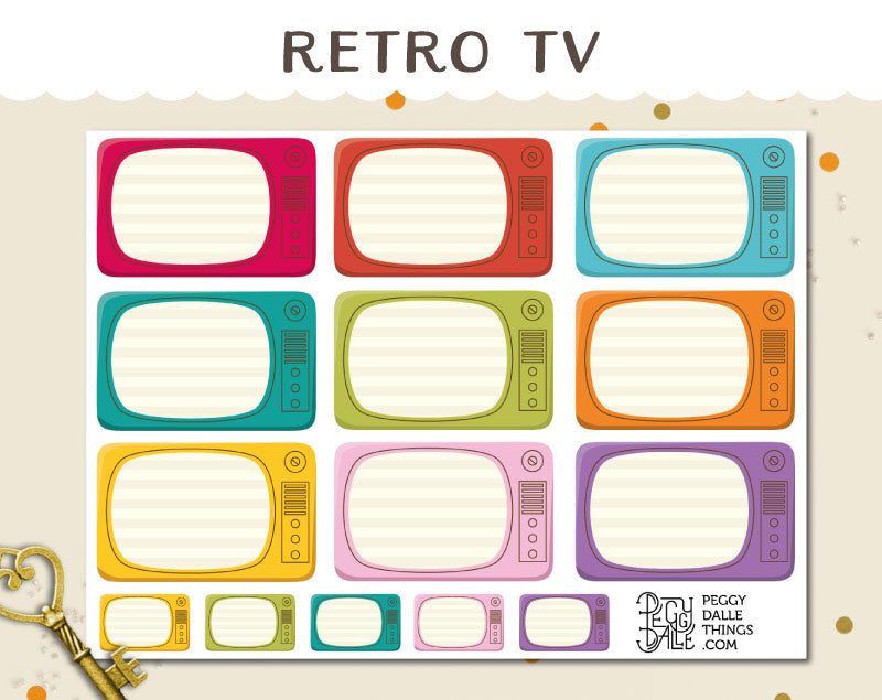 Retro TV Reminder Planner Stickers