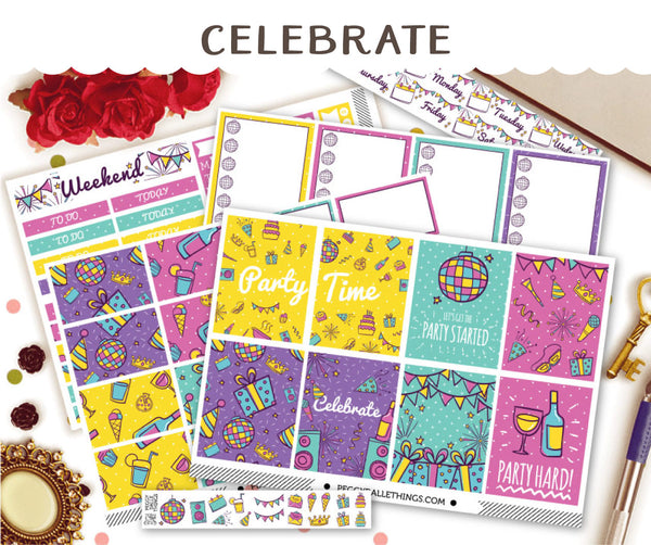 Celebration Week ECLP Vertical Weekly Kit Planner Stickers