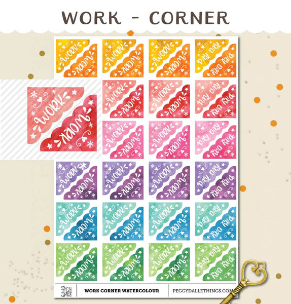 Corner Work Planner Stickers