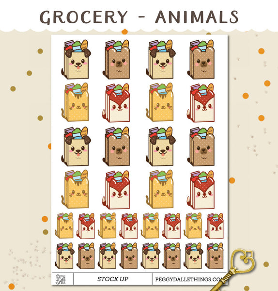 Animals Grocery Shopping Planner Stickers