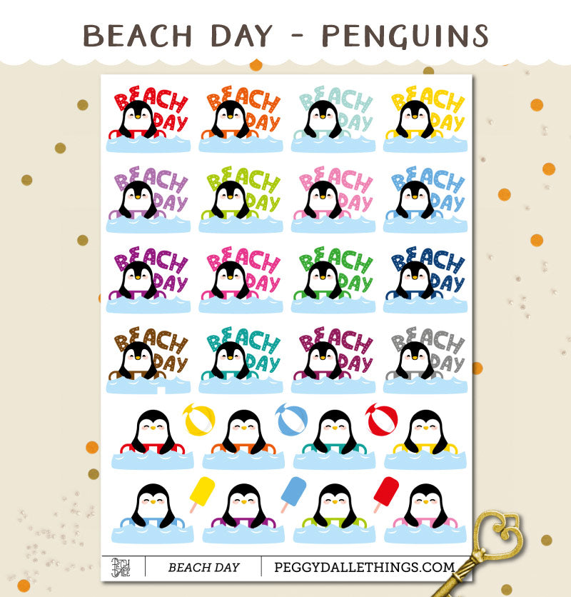 Penguins Beach Day Planner Stickers