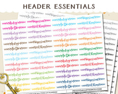 Essential Headers Title Planner Stickers