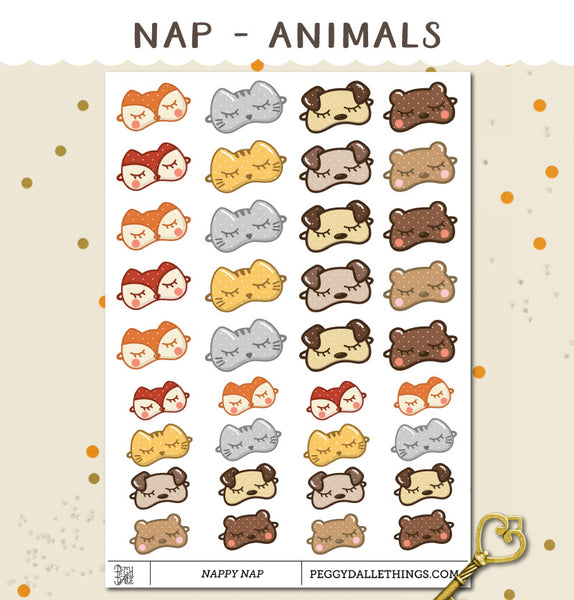 Napping Animals Planner Stickers
