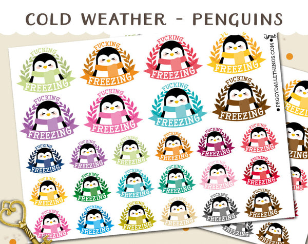 Penguins Freezing Planner Stickers | Swear Words!
