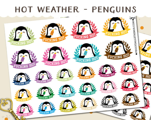 Penguins Hot Weather Planner Stickers | Swear Words!