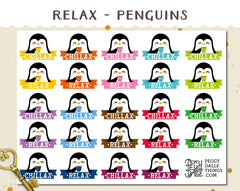 Relax Penguins Planner Stickers